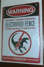 JURASSIC WORLD PARK METAL SIGN WARNING ELECTRIC FENCE LOOTCRATE