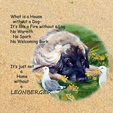 More details for leonberger dog new hardboard plaque tile oil painting print sandra coen artist