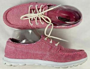 Skechers On The Go Womens Walk Lite ISLA Size 8.5 Lite Slip-On Pink Boat Shoes