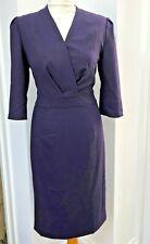 ARTIGIANO dark purple blue V neck wool blend dress - size 10