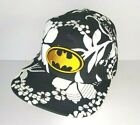 Batman Logo Cap Hat Six Flags Black & White Floral Print Superhero Cap DC Comics
