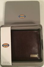 Fossil Omega ML3614201 Brown Genuine Leather Wallet Passcase Bifold Mens New