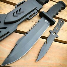"""12.5"""" TACTICAL SURVIVAL Hunting FIXED BLADE Army Bowie w/ Throwing Knife NEW"""