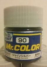 Gunze Sangyo / Mr Color acrylic paint C - 90, Semi - Gloss Silver. 10ml (1/3oz.)