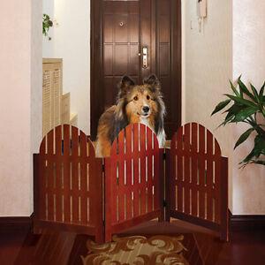 Wooden Folding Stand Alone Pet Dog Gate - Walnut Finish Free Stand Pet Fence