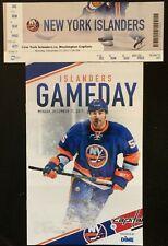 NY ISLANDERS VS WASHINGTON CAPITALS 12/11/17 GAMEDAY PROGRAM, TICKET STUB  NHL