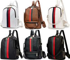 Ladies Backpack Luxury Leather Bag Pattern Tote Handbag Gift Women Black / White