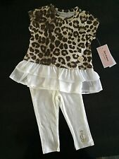 NWT Juicy Couture Baby Girl Legging Set ~ Leopard & Ivory , Size 24 Months