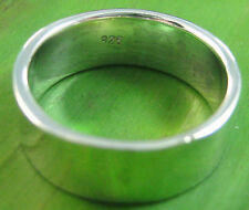 925 sterling silver plain THICK 8mm flat wedding band Ring size 5.25 US - 13 US
