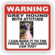 GREY HOUND DOG WARNING SIGN  FENCE 12 X 12 POLY STYRNE