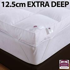 "LUXURY 5"" (12.5CM) EXTRA DEEP 100% GOOSE FEATHER & DOWN MATTRESS TOPPER 12.5CM"
