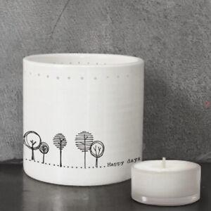 HAPPY DAYS East of India Porcelain Tea light holder 7 x 7.5cm White Boxed New