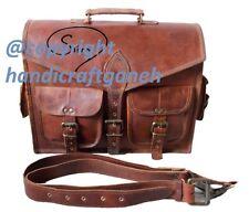 """15"""" Men's Genuine Handicraftganesha Leather Messenger Shoulder Laptop Case Bag"""