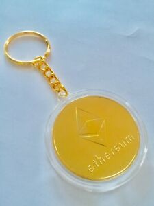 Ethereum ETH Crypto 24k gold-plated Collectable Novelty Coin Keychain Keyring
