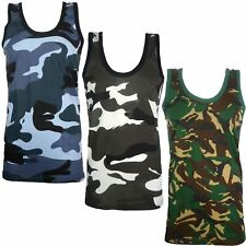 MENS CAMOUFLAGE VEST SLEEVELESS MUSCLE TOP JUNGLE COMBAT MILITARY GYM ARMY SHIRT