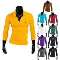 Herren Langarm Shirt Baumwolle Polokragen Polohemd Party T-Shirt Cotton tOPS