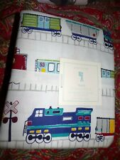 POTTERY BARN KIDS TRAIN FLANNEL SHEET SET, NEW, FULL