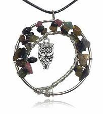 Dark Natural Brown Owl Tree of Life Stone and Wire Pendant Necklace