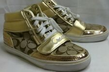 COACH Mistie Womens 8 B Gold Signature Logo Sequin High Tops Sneakers Shoes