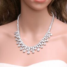 Cubic Zirconia Clear Dangle Teardrop Platinum Plated Necklace Birthday Gift