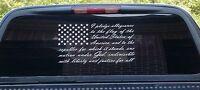 American flag pledge of allegiance vinyl truck window sticker decal