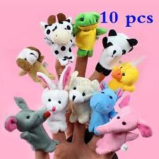 10x Cartoon Biological Animal Finger Puppet Plush Toys Children Baby Favor Doll