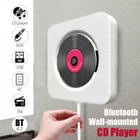 bluetooth Wall Mount CD Player Remote Control HiFi Speaker FM AUX USB Stereo