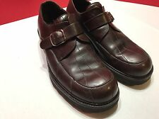 Avventura Brown/Burgundy Leather Casual Oxfords Buckle Up Shoes Mens Sz 8.5 M