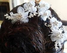Bridal Wedding Prom Floral Beads Rhinestone Headpiece 3 Adjustable Hair Pins Bow
