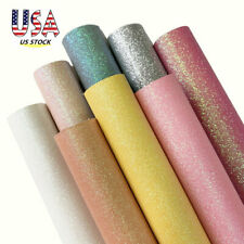 8PCS Pastel Fine Glitter Fabric Sheets Vinyl Faux Leather Bows Material US STOCK