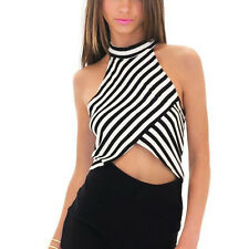 Women Halter Stripe Vest Top Sleeveless Blouse Casual Tank Tops T-Shirt XL