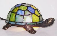 LOVELY TIFFANY STYLE STAINED GLASS TURTLE/TORTOISE ACCENT LAMP NIGHT LIGHT