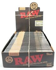 RAW Classic Black 1 1/4 Rolling Papers - 5 PACK LOT - Free Shipping Within USA!