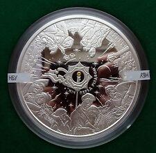 2009 500 g Ukraine Silver Coin 50 UAH Nikolai Gogol Dikanka Rare Yellow Sapphire