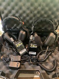 Eartec 2 Headsets + 2 Simultalk 24G Wireless Radios #SLT2400 W/ Case Complete