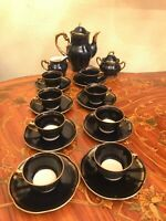 Vintage 8 cups 8 saucer Pot Milk Sugar Echt Cobalt Poland Porcelain Coffee Set