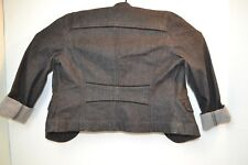 ANN TAYLOR LOFT BLACK DENIM JEAN JACKET VELVET TRIM SZ 6
