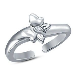 925 Silver Round Diamond Butterfly Adjustable Toe Ring 14K White Gold Plated