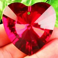 41x39x16mm Faceted Red Titanium Crystal Heart Pendant Bead S39719
