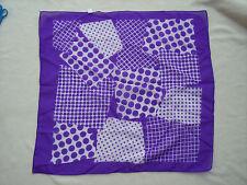 "Woman Semi Sheer 24"" Square Scarf Purple White Geometric Polka Dots Japan Made"