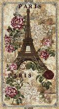 Paris Rendezvous Eiffel Tower Roses Victorian 24x44 Fabric Panel
