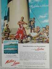 1955 Matson Lines ad, Hawaii, dancing on deck, Ukulele