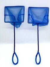 "Aquarium Fish Tank Nets Blue Square 5"" Koi Goldfish Water Scoop Lot of 2"