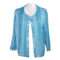 Chicos 2 Womens Blazer Suit Jacket Blue White Striped Open Front Work Size Large