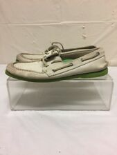 Vintage Sperry Top Sider Mens White Leather Boat Deck Shoes Size 10 M Neon Sole