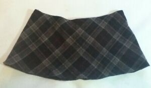 "11""  Vintage Brown Diamond Plaid Tartan M&S Micro Mini Skirt UK size 14 - 16"