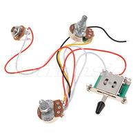 3 Pickup Guitar Wiring Harness Prewired 1 Volume 1 Tone 500k Pots 5 Way Switch