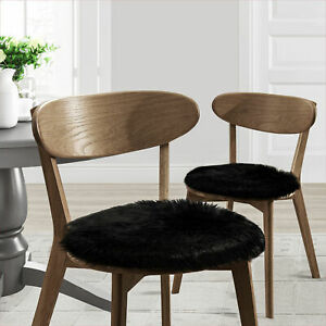 """Faux Fur 16"""" Round Suede Backed Chair Pad 2, 4, 6 or 12 Pack"""