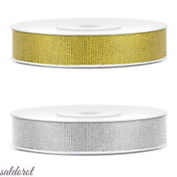 1m- 25m * 10mm/25mm/38mm * Woven Edge Sparkly Lame Ribbon Silver Gold Glitter