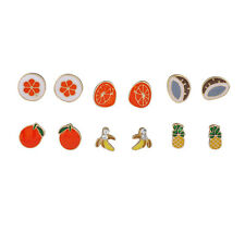 Lux Accessories Gold Tropical Fruit Pineapple Coconut Multiple Stud Earring Set